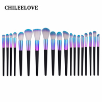 CHILEELOVE 19 Pcs Colorful Conical Makeup Brush Kit Foundation Blending Eye Brush