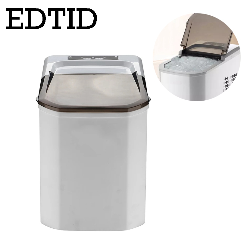 EDTID Automatic Ice Cube Maker Machine Household Bullet Round Ice Block Making Machine Commercial Mini 15kg/24H small bar EU US