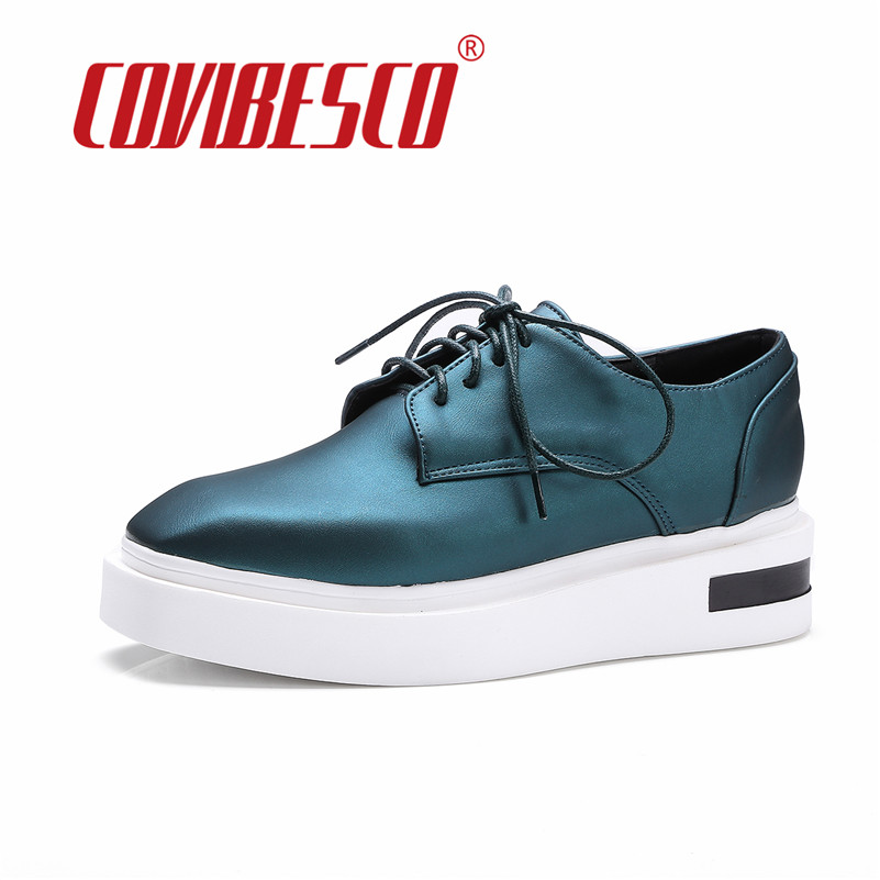 COVIBESCO New Spring Autumn High Platforms Shoes Women Flats Fashion Lace Up Shoes Quality Woman Round Toe Ladies Casual Shoes new spring autumn women shoes pointed toe high quality brand fashion ol dress womens flats ladies shoes black blue pink gray