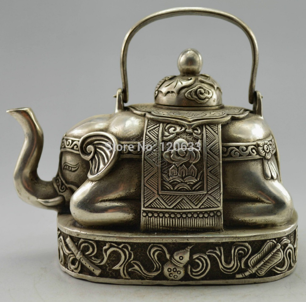 Decorated Handwork Tibet Silver Carved Elephant Tea Pot Decoration BRASS Art Decoration 100% Real Tibetan Silver Brass