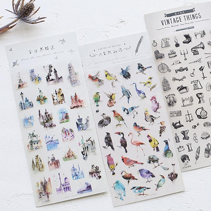 Beautiful animals bird vintage adhesive paper sticker decorative DIY scrapbooking sticker post kawaii stationery 18 k gold natural ruby jewelry set