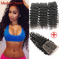 Malaysian Deep Wave with Closure 3 Bundles Malaysian Virgin Hair with Closure Queen Hair Products Deep Wave with Lace Closure