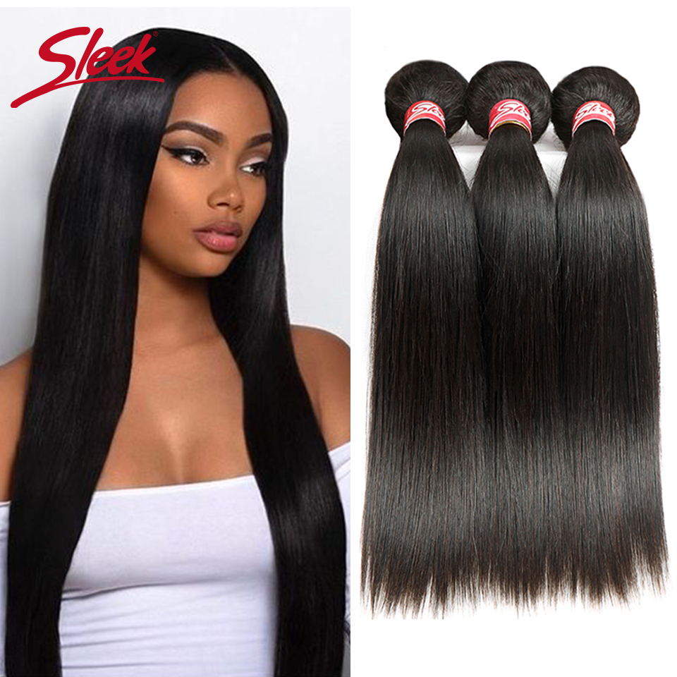 Sleek Malaysian Straight Hair 4 Bundles Deal 10 to 28 Inch Non Remy Straight Hair Weave
