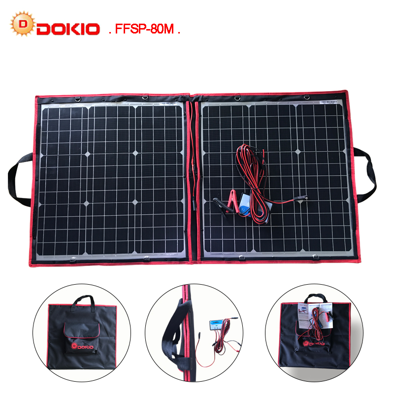 Dokio 50W 60W 70W 80W 40x2Pcs 18V Flexible Black Solar Panels China Foldable 12 24V Volt