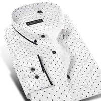 2019 Autumn New Men Polka Dot Long Sleeve Shirt Fashion Male Dress Shirts Smart Casual Formal Cotton Shirt