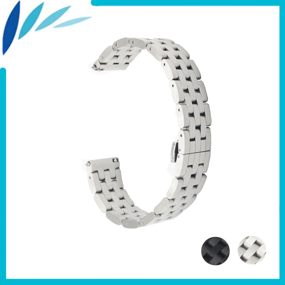 21mm 22mm quick release silicone rubber watchband universal watch band wrist strap stainless steel buckle belt bracelet black Stainless Steel Watch Band 20mm 22mm for Seiko Butterfly Buckle Strap Wrist Quick Release Loop Belt Bracelet Black Silver + Tool