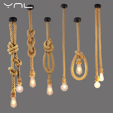 Retro Lamp E27 Hemp Rope Pendant Light Vintage Loft Creative lighting American Style lights Dining Living Room Restaurant Decor(China)