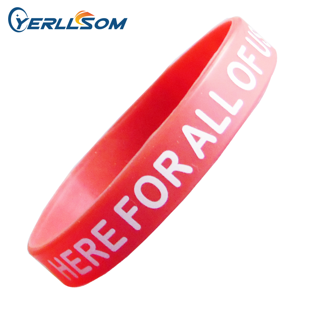Lot Free Shipping High Quality Custom Personalized Screen  Printing Logo Rubber Wristbands Y072905