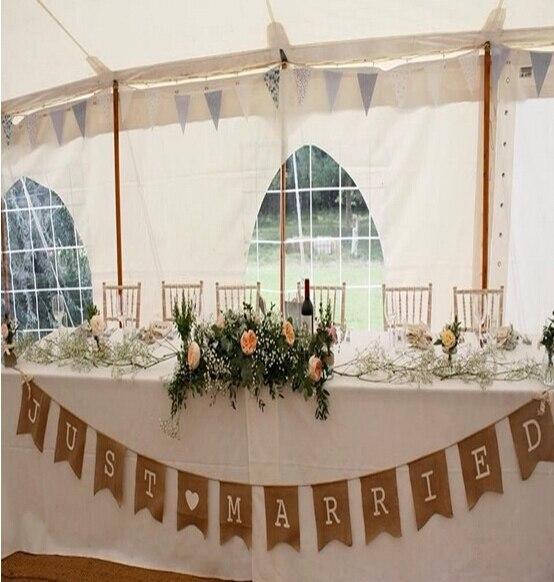 370CM rustikální hessian pytlovina svatba prapory Just Married banner / svatební věnec Svatební Foto Prop Bunting