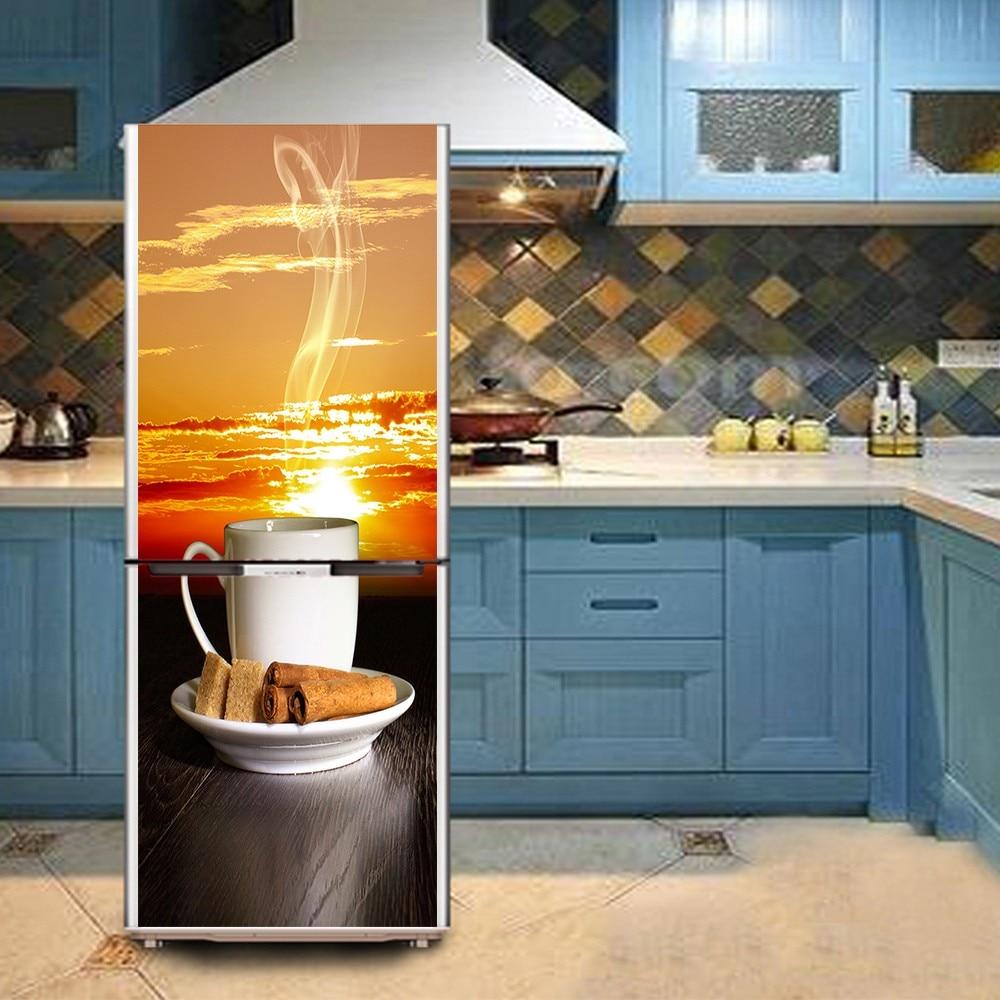 DIY Afternoon Tea Waterproof SelfAdhesive Refrigerator Sticker Door ...
