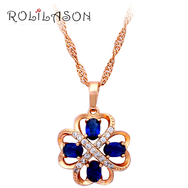 76e90a9b357b ROLILASON Top sell online! Best Gifts for friends yellow gold tone Blue  Zirconia fashion jewelry Necklaces   Pendants LN352
