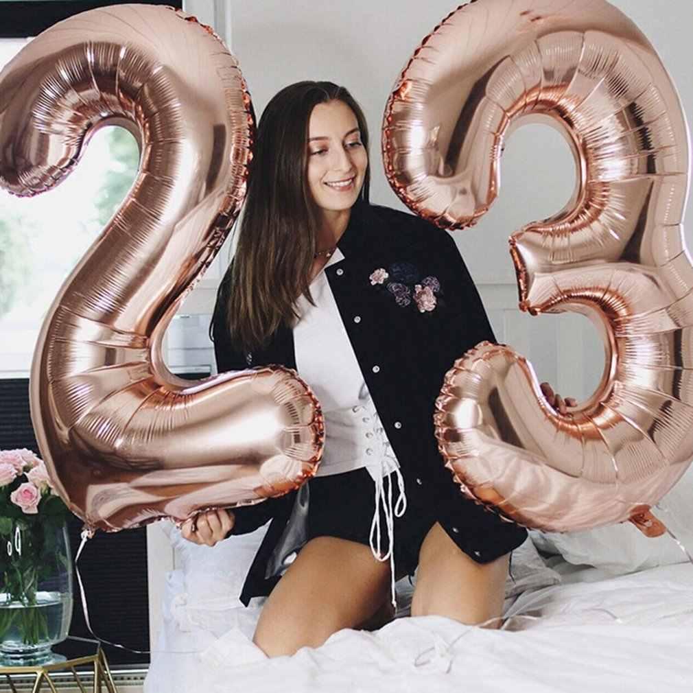 40 Inch Ukuran Besar Nomor Aluminium Foil Balon Pesta Ulang Tahun Pernikahan Deco Rose Emas Balon Persediaan Nomor Mainan Anak Hot