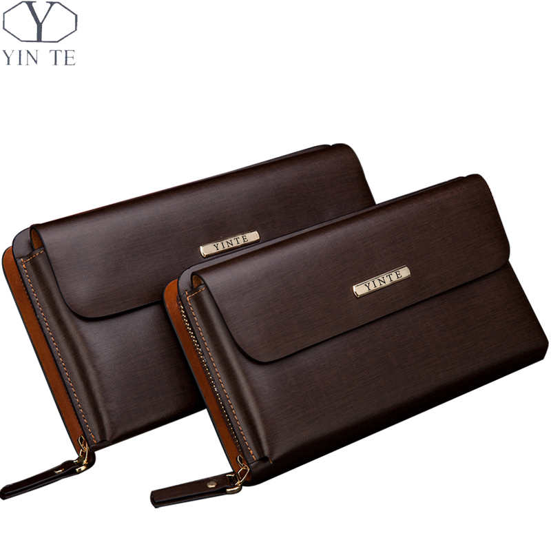 YINTE Men's Leather Clutch Wallets Zipper Wallet Purse Brown Wrist Bags Business Men Card Holder Phone Wallet Portfolio T10341 business men clutch bags classic wallet genuine leather male cell phone purse long style card holder clutch bags