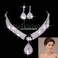 Bridal Chic Party Crystal Rhinestone Water Drop Necklace Pendant Earrings Jewelry sets #Y51#