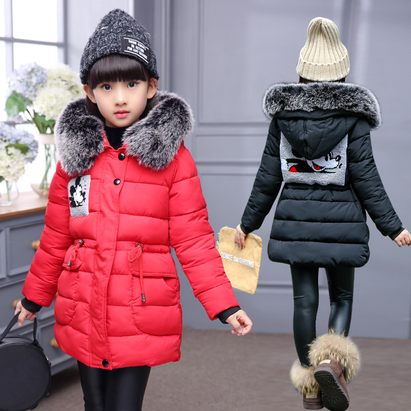 2018 New Fashion Girl Winter Jacket Long Children 6-14years Korean Coat Kids Thick Fur Collar Hooded Cotton Teenage Girls Parka 2017 new fashion boys winter jacket cotton coat children parka detachable faux fur hooded collar long style army green red black