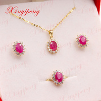 Xin yi peng 18 k yellow gold inlaid natural ruby ring earrings necklace jewelry set, woman, engagement wedding gift