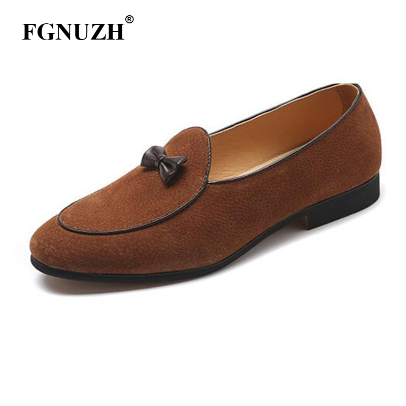FGNUZH Gentlemen Bowknot Wedding Dress Flats Men Loafers Casual Slip on Shoes Genuine Leather Men Formal Shoes ST377(China)
