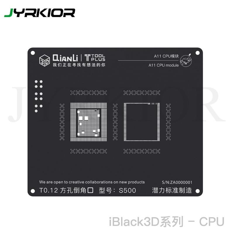 Jyrkior QianLi 3D CPU Processor Module Plant Tin Mesh BGA Reballing Black Stencil Template For IPhone A7 / A8 / A9 / A10 / A11