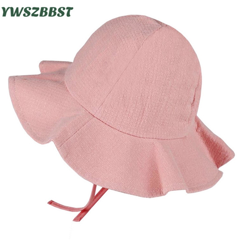 Summer Girls Sun Hat Cotton Baby Hat Kids Child Sun Cap Infant Baby Bucket Hats Solid Color Toddler Boys Girls Brim Beach Cap dg0091 rounding top hat beach hat coffee