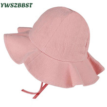 купить Summer Girls Sun Hat Cotton Baby Hat Kids Child Sun Cap Infant Baby Bucket Hats Solid Color Toddler Boys Girls Brim Beach Cap дешево