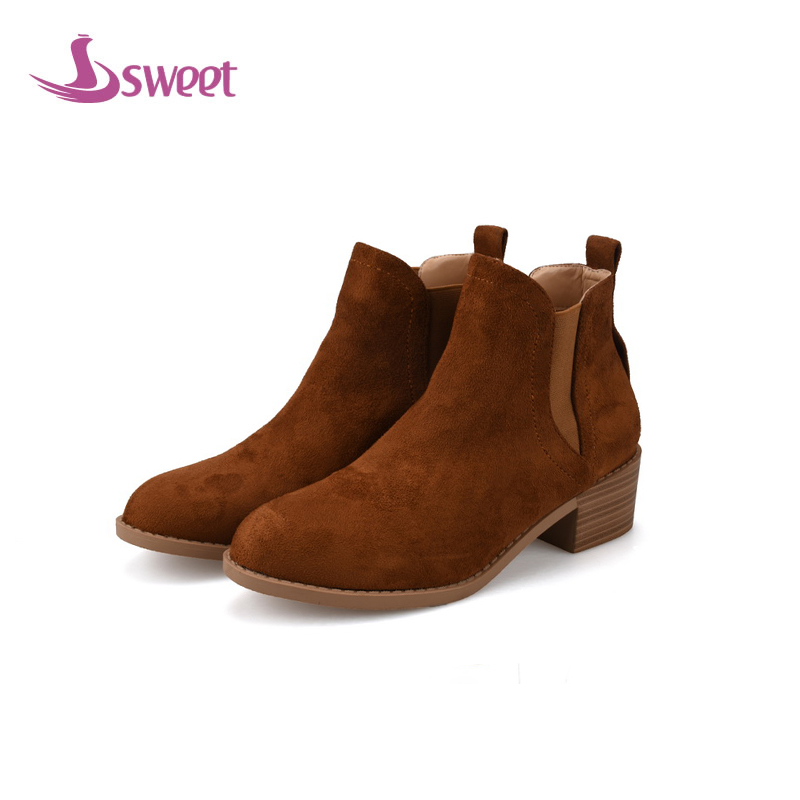 Фотография sweet Brand womens shoes woman boots Winter Chelsea Boots PU Elastic band Solid Rome Rubber Square heel Short Plush RomeA75