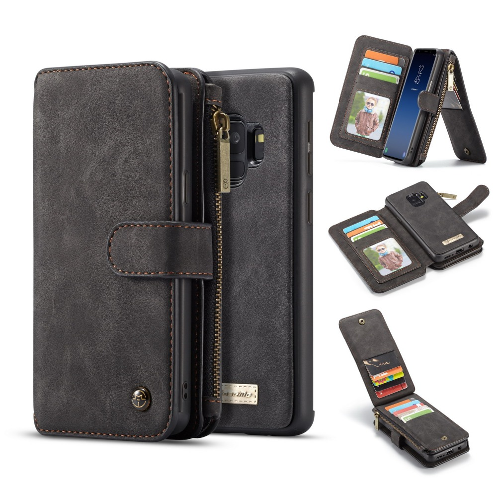 outlet store 2fc67 eae48 US $13.59 20% OFF|For Galaxy S9 Plus Wallet Case 2 in 1 Detachable Folio  Magnetic Genuine Leather Cover Case for Samsung Galaxy S9 S10 E Note 9-in  ...