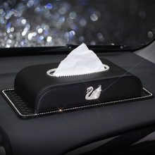 Черный Кожаный Автомобильный держатель для салфеток Bling Crystal multi-use бумажный чехол для полотенец перекачивающая бумага чехол диспенсер автомобильный Декор