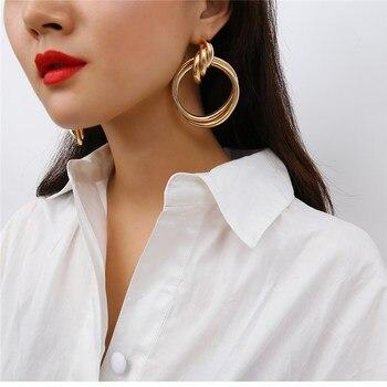Vintage círculo retorcido Color oro grandes pendientes para las mujeres grueso tubo redondo declaración pendientes moda joyería gruesa