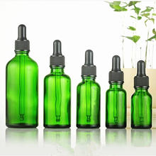 Botella de vidrio verde vacío con tapón de rosca de plástico, gotero con pegamento negro, 5ml-100ml, 30ml, 10 Uds.