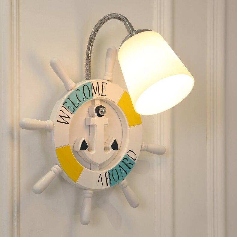 Современный мультфильм смолы корабль штурвала настенный светильник мальчик детская комната Творческий стекла огни девушка спальня ночники Арт Декор светодиодные лампы