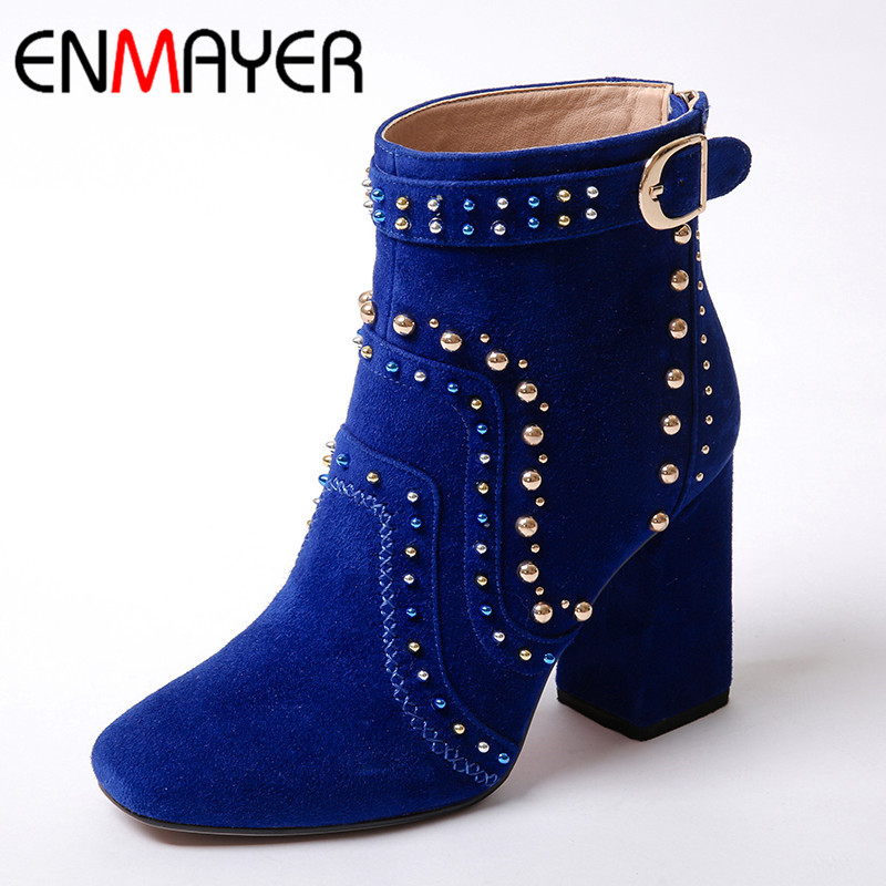 ENMAYER Round Toe Zippers High Heels Ankle Boots for Women Platform Black Shoes Woman Motorcycle Boots Winter Shoes Size 34-39 enmayer bling gladiator zippers round
