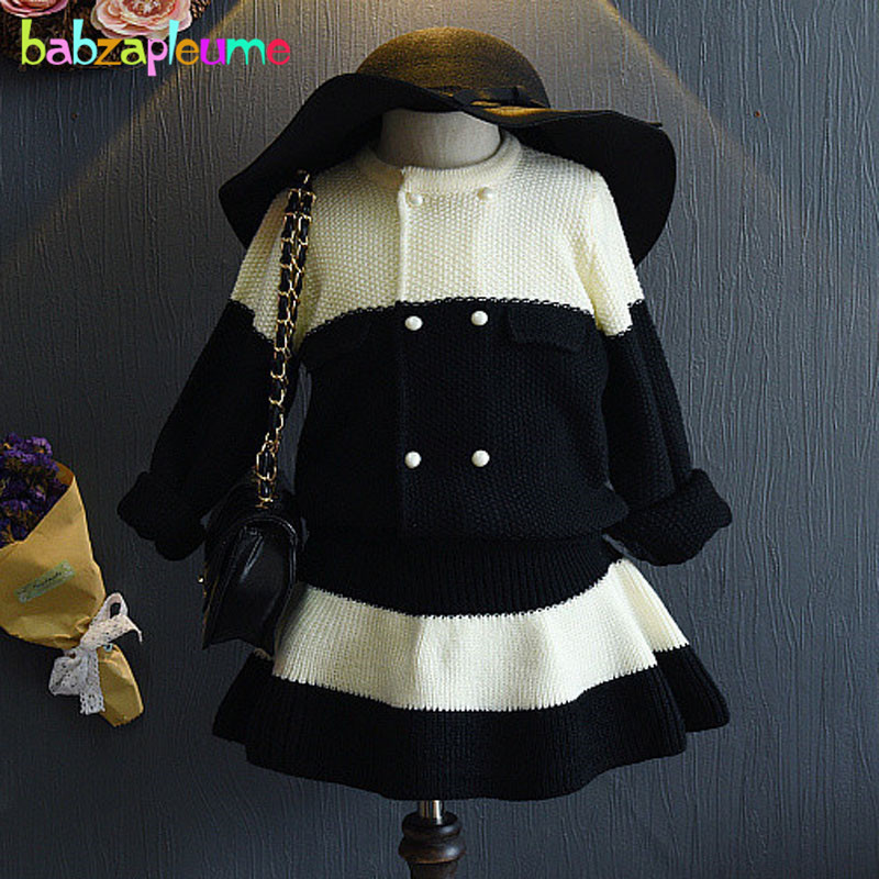 2PCS/2-6Years/Spring Autumn Children Clothes Korean Fashion Knit Coat+Skirt Baby Girls Outfits Kids Boutique Clothing Set BC1052