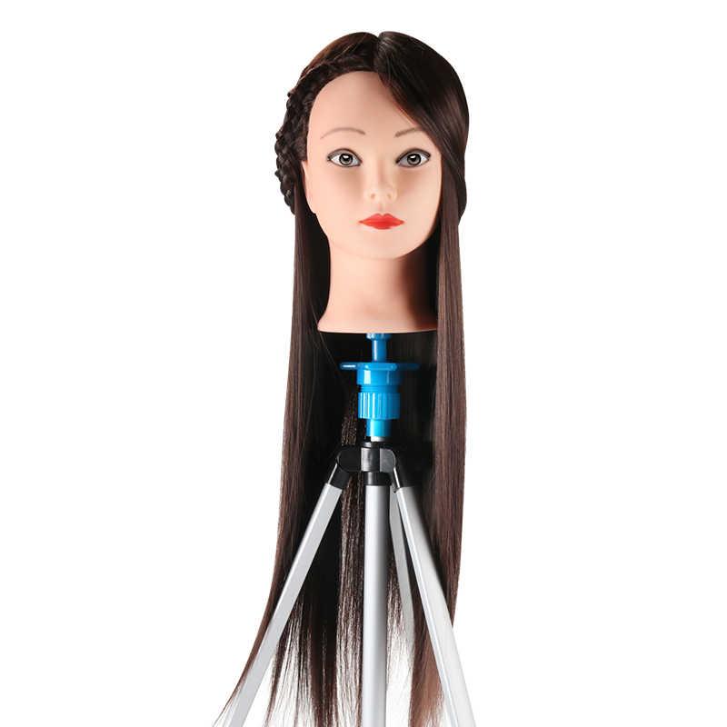Maniquí cabeza de novia peluquería 24 pulgadas maniquí muñecas largo Haistyle cabeza sintético largo maniquí de pelo grueso cabeza