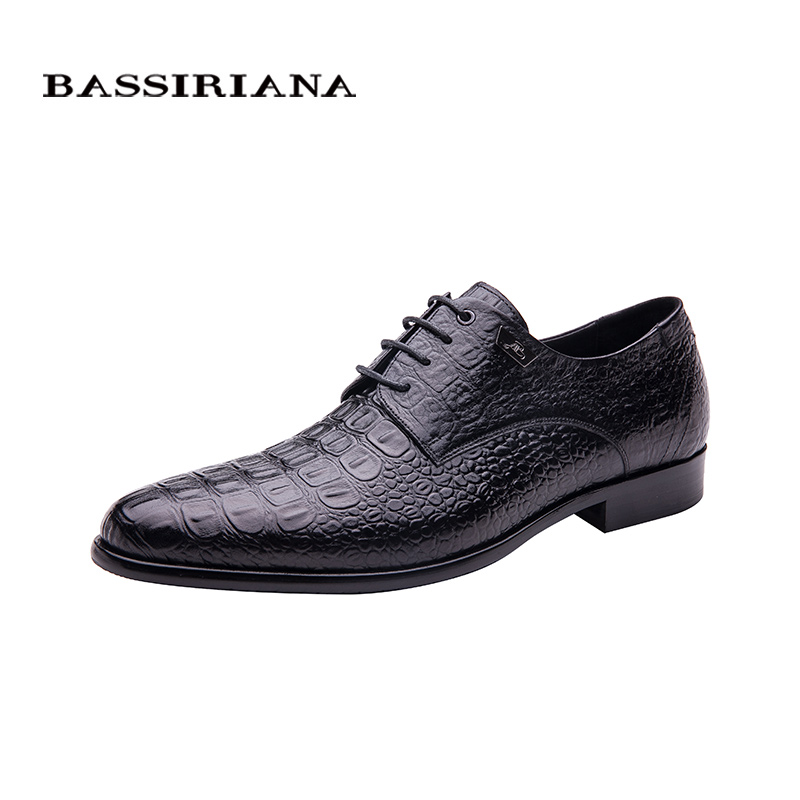 BASSIRIANA 2016 Fashion Genuine Leather Men Dress Shoes Business Leather Men Shoes Office shoes Free shipping