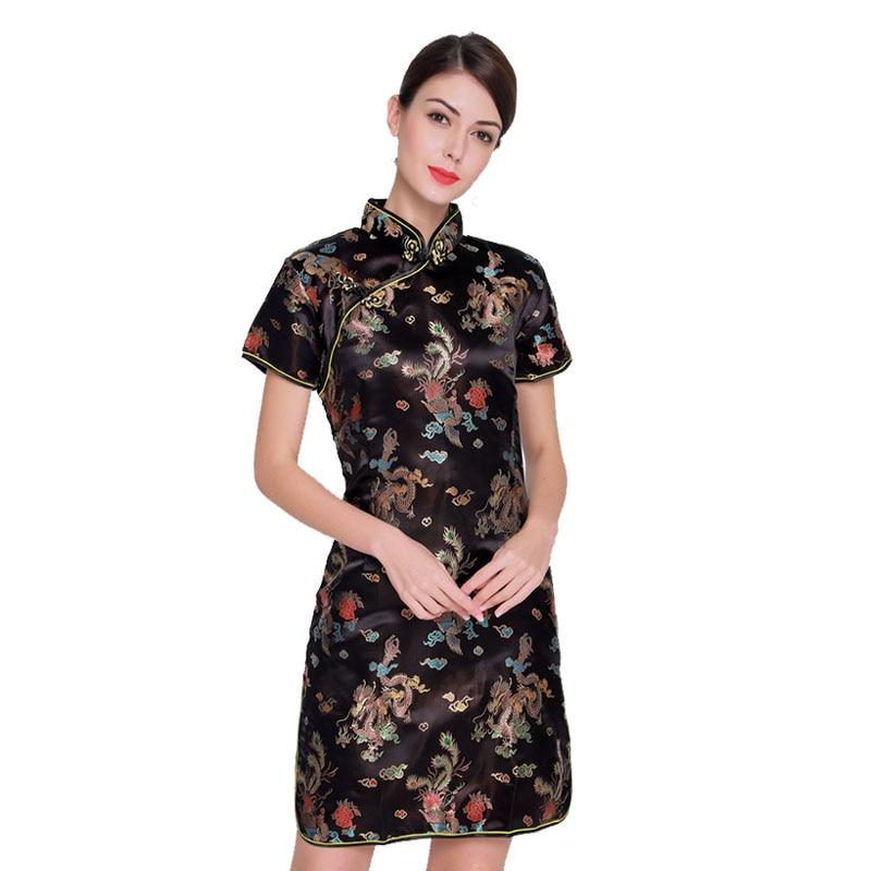 Vintage Dragon&Phoenix Qipao Elegant Women Oversize Cheongsam 3XL 4XL 5XL 6XL Mandarin Collar Sexy Mini Chinese Dress Vestidos