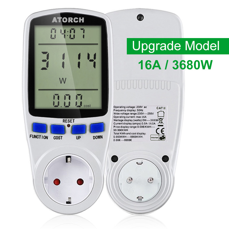 ATORCH 220v AC power meter digital wattmeter energy eu watt Calculator monitor electricity consumption Measuring socket analyzer hp9800 pc usb port 4500w 85v 110v 220v 265v ac 20a electric power energy monitor tester watt meter analyzer with socket output