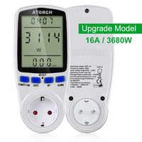 ATORCH 220v medidor de potencia de CA medidor de potencia digital energía Calculadora de vatios de la UE monitor de consumo de electricidad Analizador de toma de medición