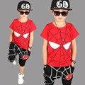Маленькие мальчики одежда лето 2017 одежда наборы символов красный черный маленький большие мальчики набор футболка брюки 2 шт. детская одежда набор