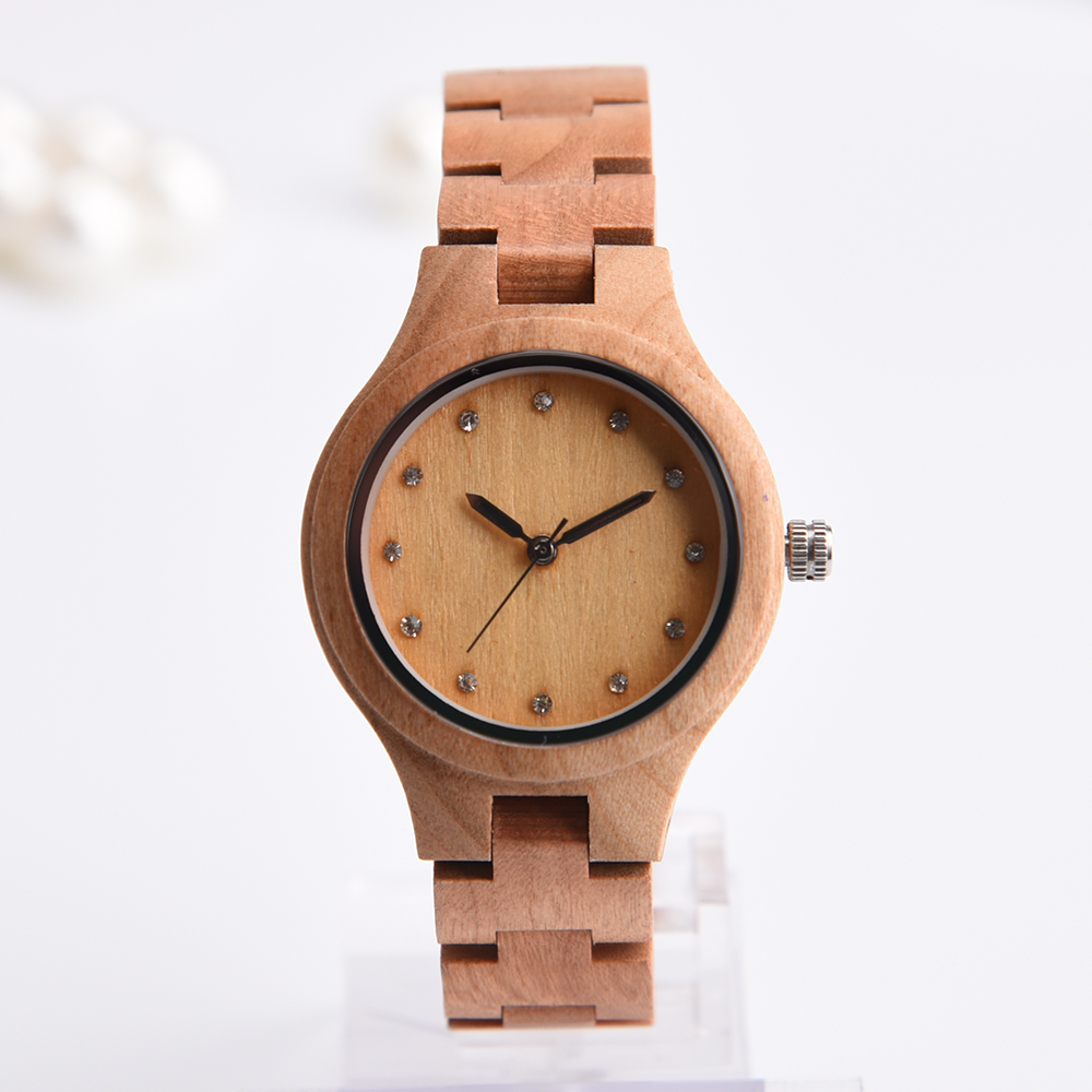 DWG Brand New Wooden Watch Japan Quartz Movement Rhinestone Ladies Fashion Brown Wrist Watches Women Cherry Wood Clock With Box free shipping ep2c8q208c8n qfp ic 5pcslot