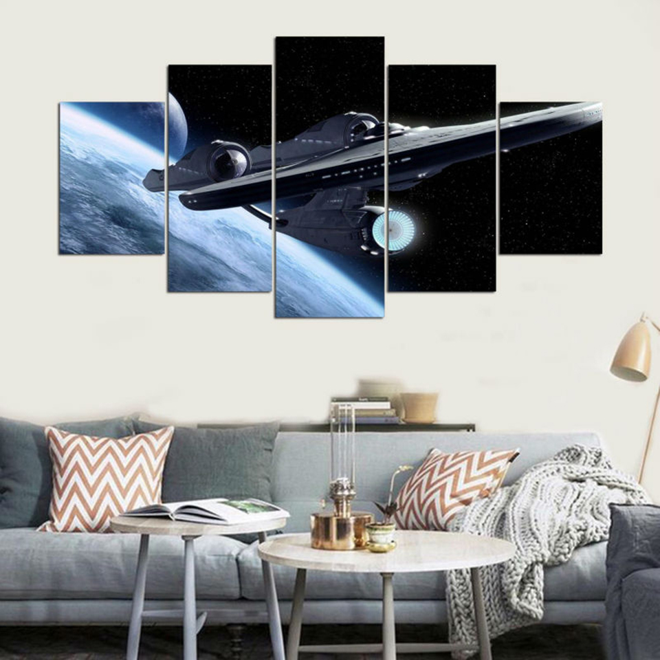 Hd Printed Pictures Canvas Painting 5 Panel Star Trek