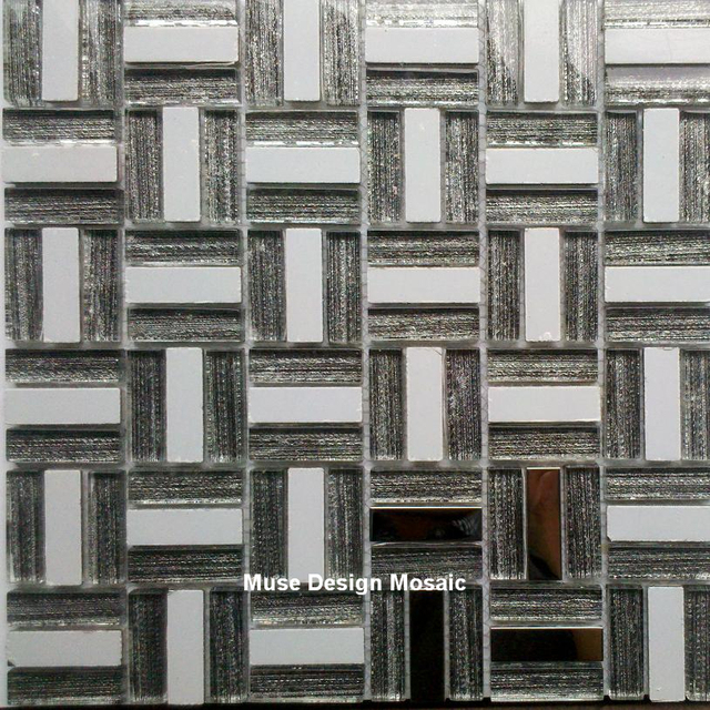 Retro Silver Metal Hand Painted Grey Glass Mosaic tile kitchen
