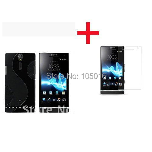 Free shipping 1pc TPU GEL Skin Case cover with S pattern & 1pc crystal screen protector guard for Sony Xperia S LT26i