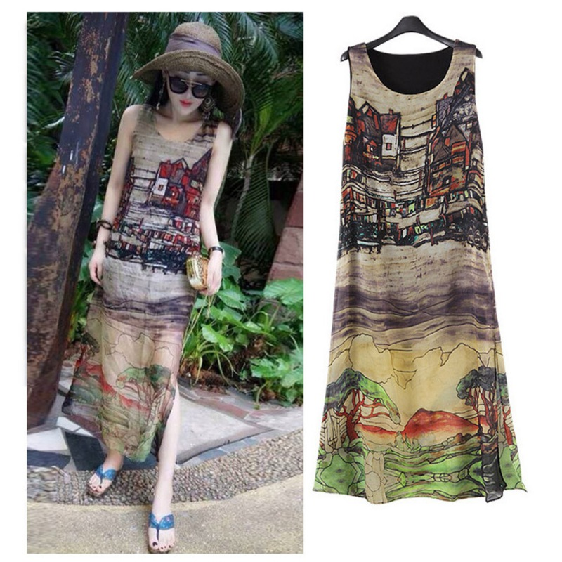 Women Dress Summer 2018 Print Floral Sleeveless O-neck Long Maxi Dress Casual Loose Female Dress Vestidos Plus Size