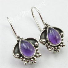 Sterling Silber Ohrringe 2,5 cm, Authentische DROP CABOCHON AMETHYSTEN Schmuck Variation(China)