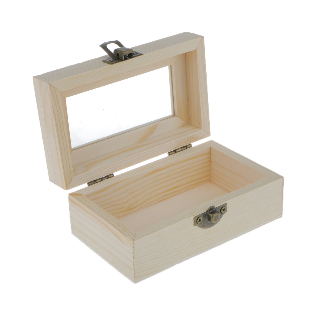 Plain Unfinished Wooden Tool Jewelry Case Storage Box With Transparent Glass Door Glass Lid Chest Case Keepsake Gift