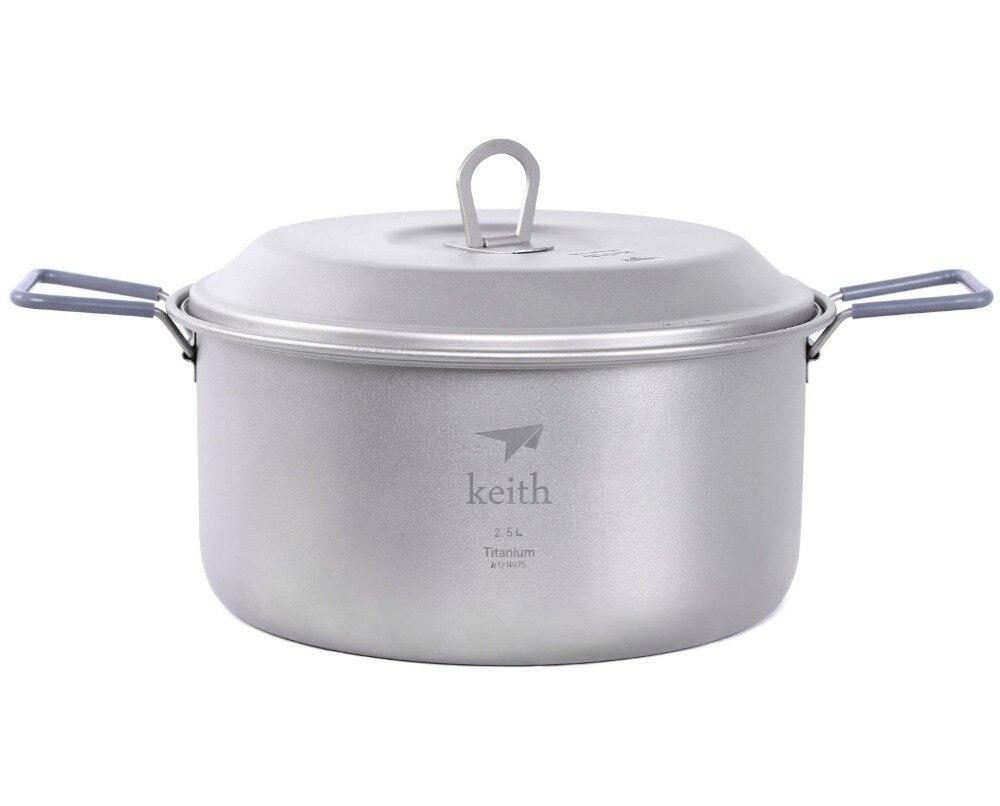 Keith KP6018 Titanium Soup Pot Ultralight Outdoor Camping Cookware Picnic Cooking Pot 2500ml Ti6018 keith kp6012 titanium pot