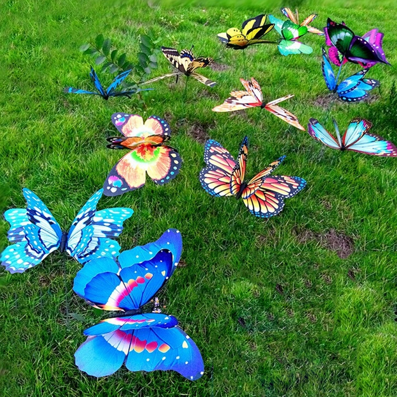 22CM Colorful Fairy Butterfly On Stick Ornament Home Garden Vase Lawn Craft Decor