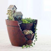 Fancy Resin Succulent Planter Flower Bonsai Pot Garden Herb Trough Box Basket