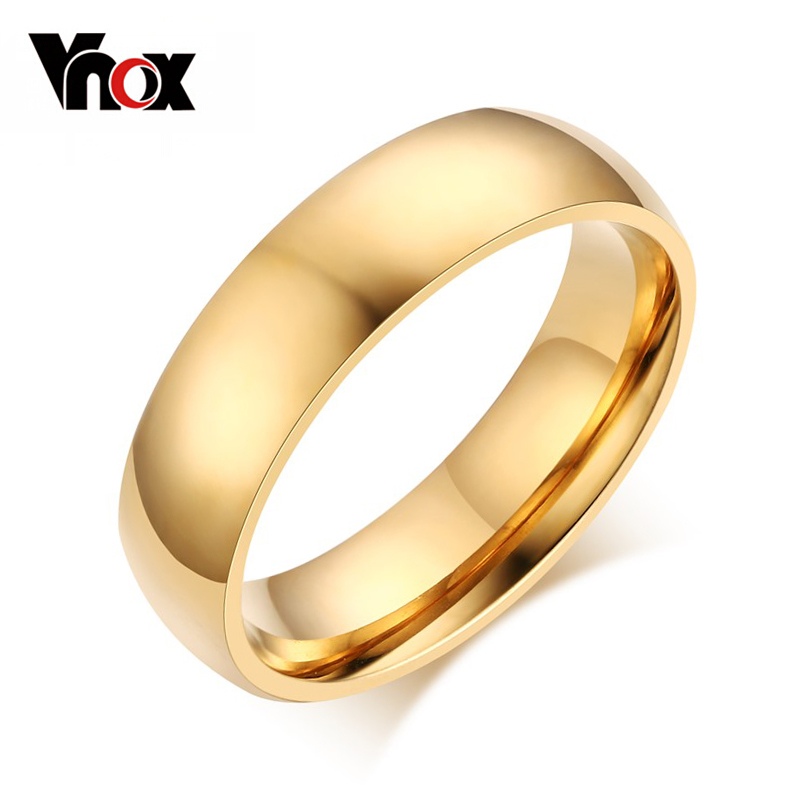 Vnox 6mm Classic Wedding Ring for Men / Women Gold