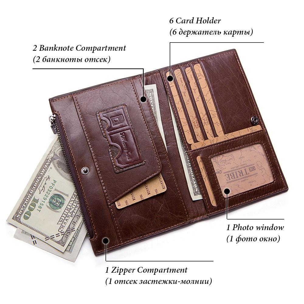 GZCZ Genuine Leathercoin purse men wallet male cuzdan Fashion portomonee handy man long vallet bag for phone Large Capacity